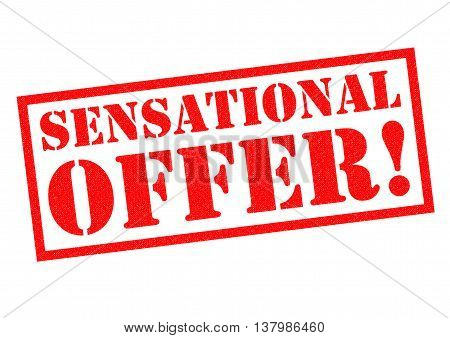SENSATIONAL OFFER! red Rubber Stamp over a white background.
