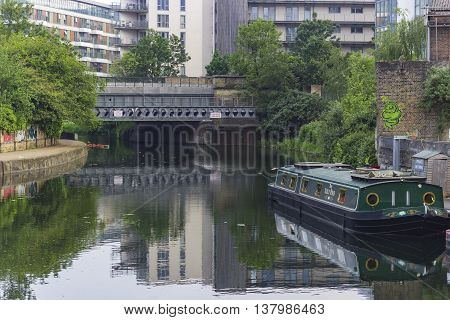 London England - May 27 2016: View over the river near the area of Hackney Wick in London England.