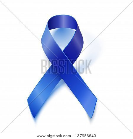 Awareness Blue Vector Ribbon Isolated On White