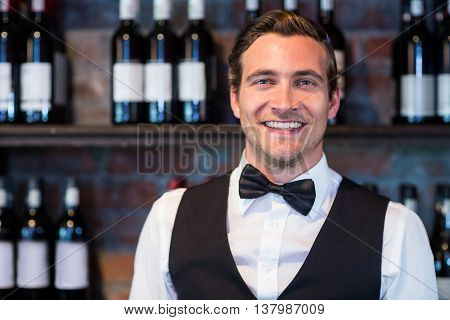 Portrait of happy bartender standing at bar counter