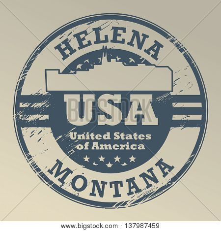 Grunge rubber stamp with name of Montana, Helena, vector illustration