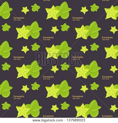 Seamless pattern of exotic tropical fruit star fruit or carambola on a violet color background flat style for printing on fabric or paper. Vector illustration.