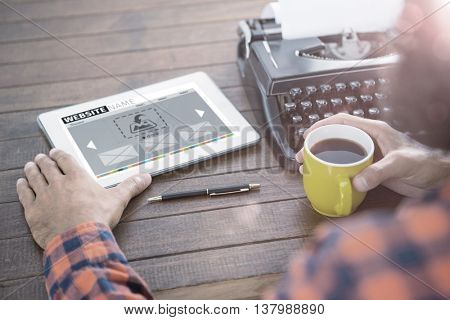 Composite image of website interface against a man is drinking coffee
