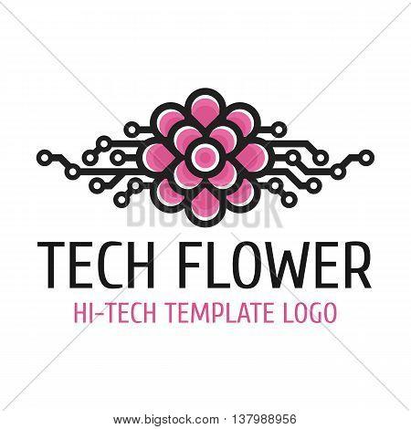Vector logo template hi-tech development. Universal high-tech template logo flower.