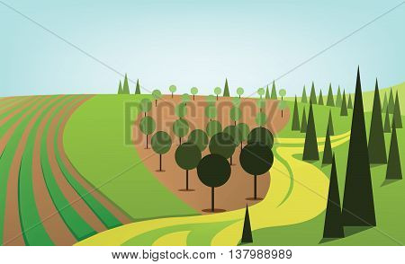 Abstract landscape design with green trees and hills yellow road and orchard flat style. Digital vector image.