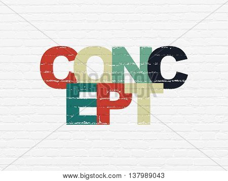 Advertising concept: Painted multicolor text Concept on White Brick wall background