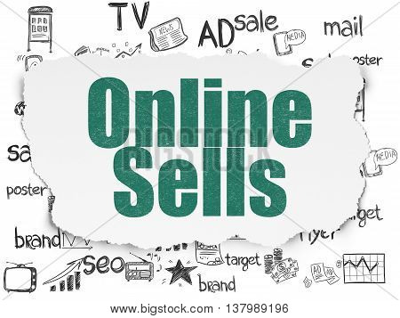 Advertising concept: Painted green text Online Sells on Torn Paper background with  Hand Drawn Marketing Icons
