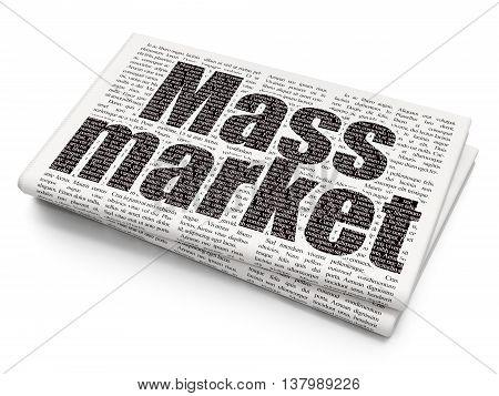 Advertising concept: Pixelated black text Mass Market on Newspaper background, 3D rendering