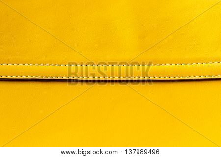 yellow Leather bag With Seam background .