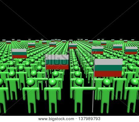 Crowd of abstract people with many Bulgarian flags 3d illustration