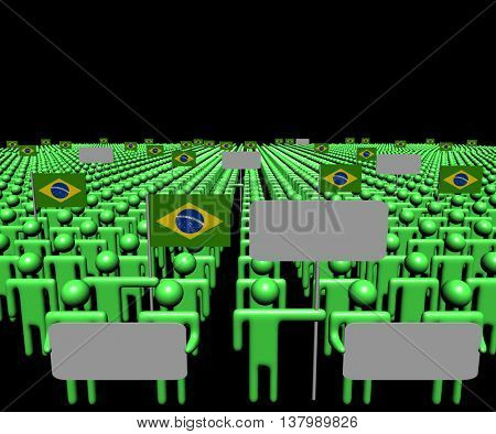 Crowd of people with signs and Brazilian flags 3d illustration