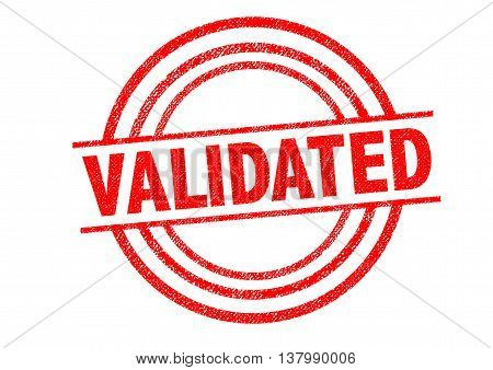 VALIDATED Rubber Stamp over a white background.