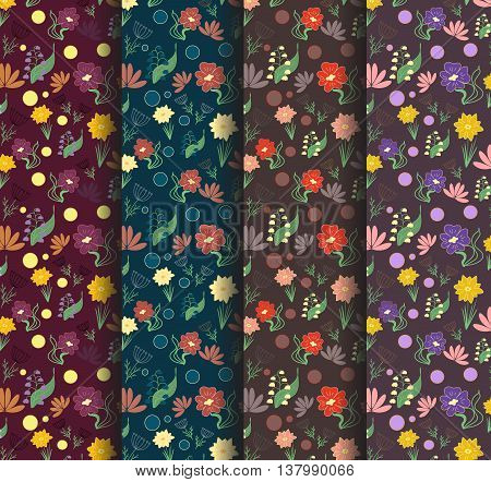 Seamless hand drawn floral pattern dark background with small spring flowers. Vector illustration.
