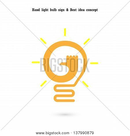 Human hand and light bulb icon vector design.The best idea concept.Good idea sign.Educationbusiness logotype concept.Vector illustration