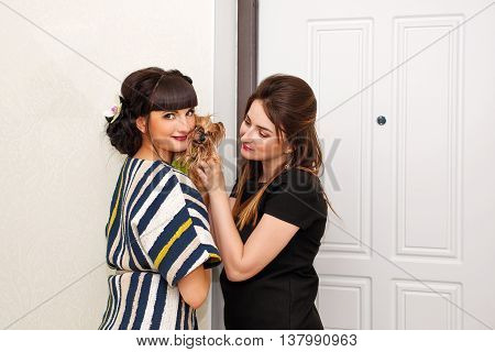 Two girls hugging Yorkshire Terrier. Pedigree dog. Funny animals. Girls and pet