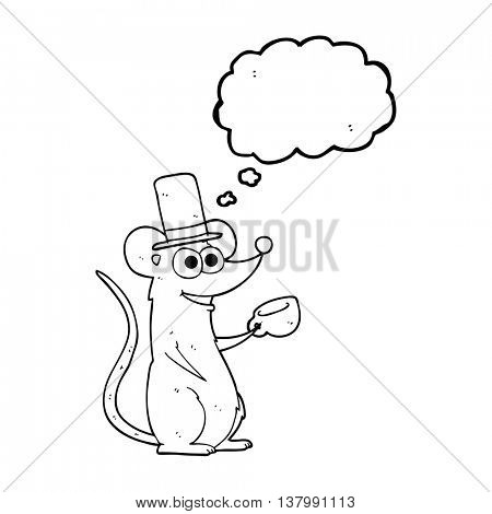 freehand drawn thought bubble cartoon mouse with teacup