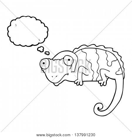 freehand drawn thought bubble cartoon chameleon