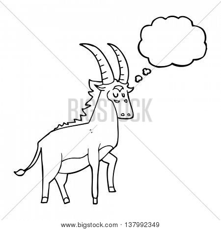 freehand drawn thought bubble cartoon antelope