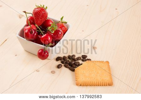Cakes Coffee Beans Cookies, Strawberry, Cherry, Under Wooden Background