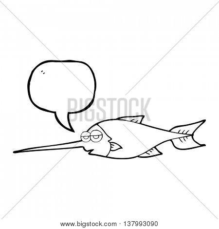 freehand drawn speech bubble cartoon swordfish