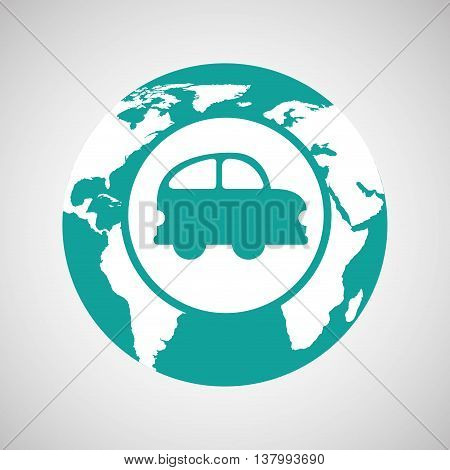 world map icon with a car, vector illustration