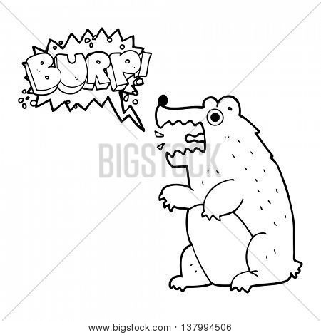 freehand drawn speech bubble cartoon bear