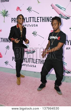 LOS ANGELES - JUL 7:  Rae Sremmurd, Swae Lee, Slim Jimmy at the Pretty Little Thing Launch at the Private Residence on July 7, 2016 in Los Angeles, CA