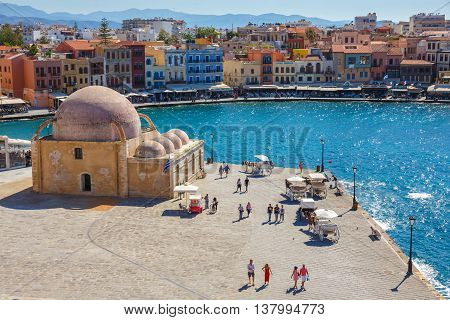 Chania, Crete - 23 Maj, 2016: View Of The Old Port Of Chania On Crete, Greece. Chania Is The Second