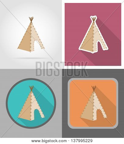 wigwam wild west flat icons vector illustration isolated on background