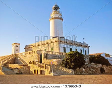 Majorca, Spain - June 21, 2008: Lighthouse at Cap de Formentor - exterior view. It is located in the north-east of the island.