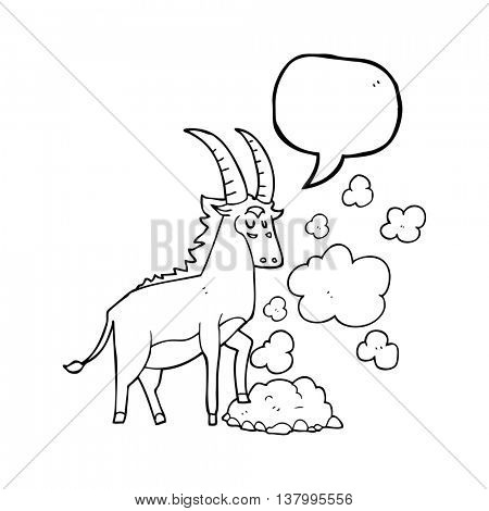 freehand drawn speech bubble cartoon antelope