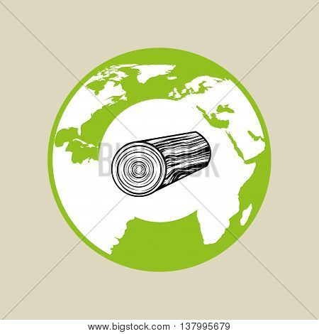 lumber label icon, green concept, vector illustration