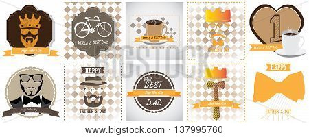 Set Of Father's Day Illustrations, Vector