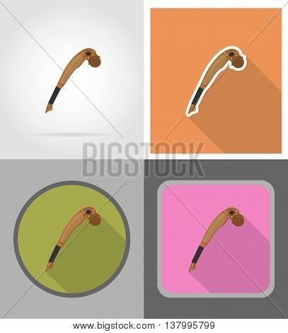 mace wild west flat icons vector illustration isolated on background
