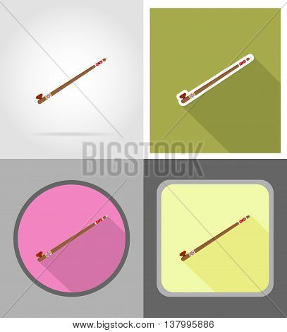 smoking pipe wild west flat icons vector illustration isolated on background