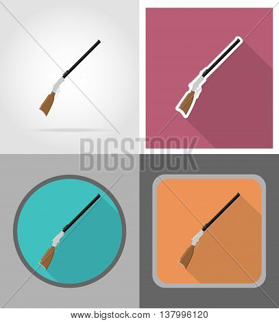 rifle wild west flat icons vector illustration isolated on background