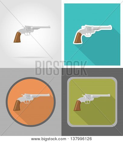 revolver wild west flat icons vector illustration isolated on background