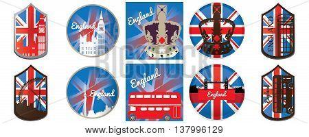 Set of england illustrations skylines Vector eps 10