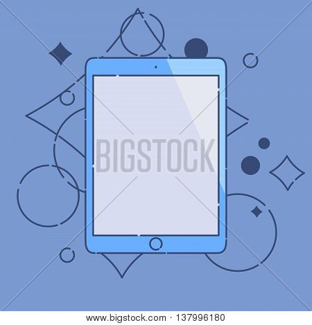 Computer tablet linear icon made in cartoon style on blue background. Tablet PC mock up. Perfect for application demo. Vector illustration.