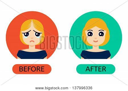 Woman with hair loss problem before and after hair treatment and hair transplantation. Female hair loss set in cartoon style. Perfect for hair clinics and diagnostic centers. Vector illustration.