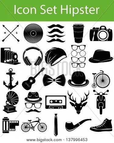 Icon Set Hipster with 33 icons for the creative use in graphic design