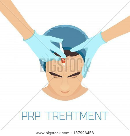 Platelet rich plasma facial injection. PRP therapy process for facelift and wrinkles. Male rejuvenation treatment infographics. Anti-ageing PRP injection procedure. Meso therapy. Vector illustration