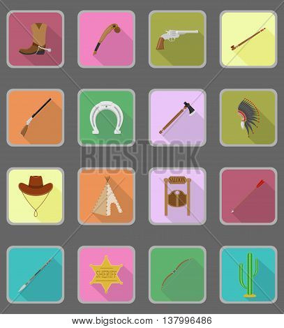 wild west flat icons vector illustration isolated on background