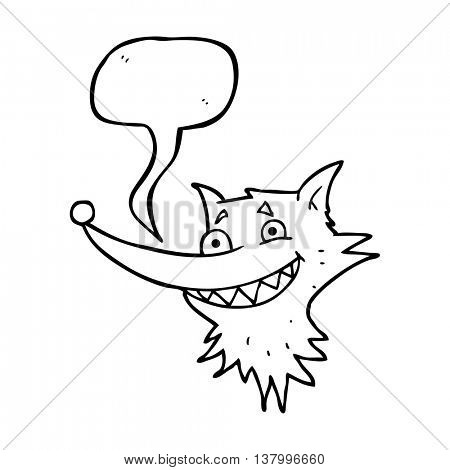freehand drawn speech bubble cartoon grinning wolf face