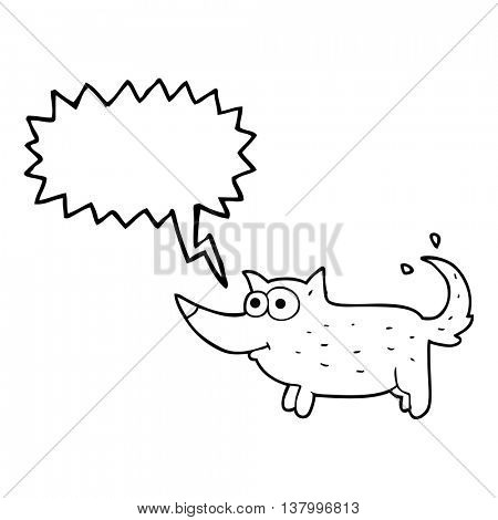 freehand drawn speech bubble cartoon dog wagging tail