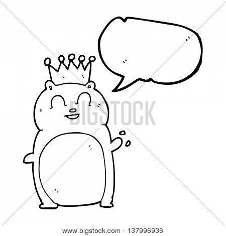 freehand drawn speech bubble cartoon waving hamster