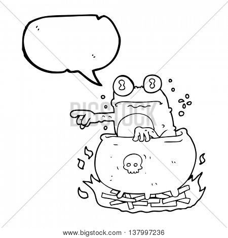 freehand drawn speech bubble cartoon halloween toad in cauldron