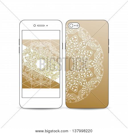 Mobile smartphone with an example of the screen and cover design isolated on white. Golden microchip pattern, connecting dots and lines, connection structure. Digital scientific background