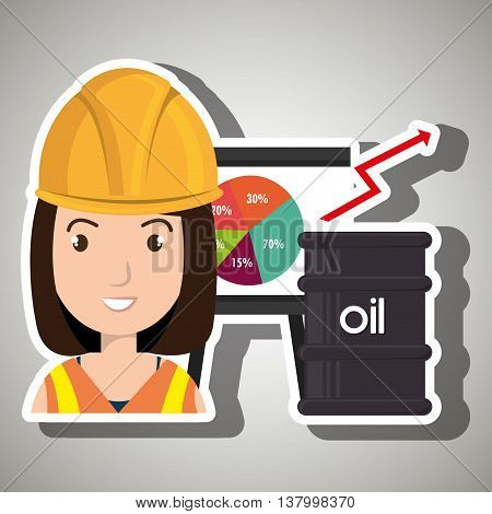 woman and oil industry isolated icon design, vector illustration graphic