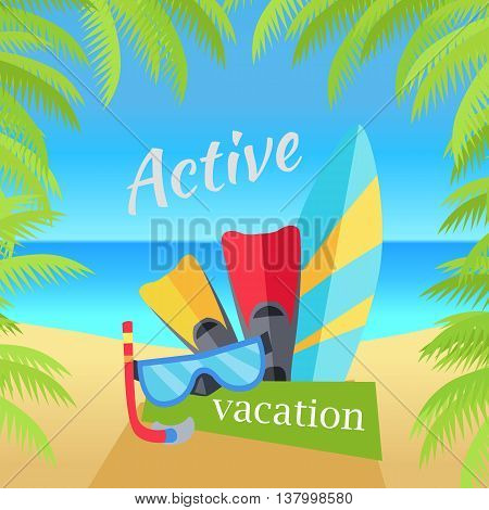 Summer vacation concept banner. Flat design vector illustration. Set of things for active rest on seacost. Diving mask, fins, surfboard on sunny beach background. Frame from palm branches on sides.